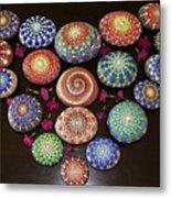 Mandala Stones Heart Metal Print