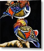 Mandarin Ducks - Sa106 Metal Print