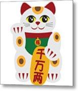 Maneki Neko Beckoning Cat Illustration Metal Print
