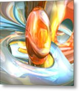 Mango And Cream Abstract Metal Print