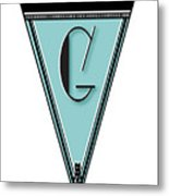 Pennant Deco Blues Banner Initial Letter G Metal Print