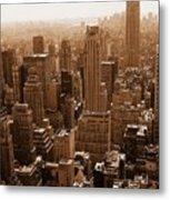 Manhattan Aerial Sepia Metal Print