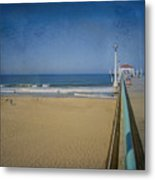 Manhattan Beach Pier Back Then Metal Print