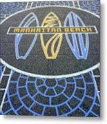 Manhattan Beach Sidewalk Metal Print