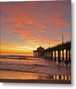 Manhattan Beach Sunset Metal Print by Matt MacMillan