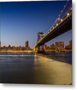 Manhattan Bridge At Night Metal Print