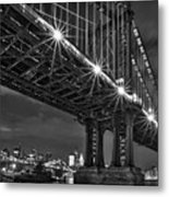Manhattan Bridge Frames The Brooklyn Bridge Metal Print by Susan Candelario