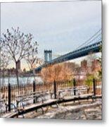 Manhattan Bridge From Brooklyn Bridge Park Metal Print