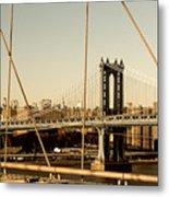 Manhattan Bridge From The Brooklyn Bridge  Metal Print