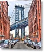Manhattan Bridge Landscape From Dumbo Metal Print
