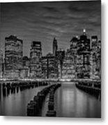 Manhattan Skyline Evening Atmosphere - Monochrome Metal Print