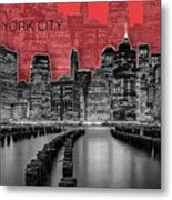 Manhattan Skyline - Graphic Art - Red Metal Print