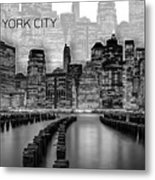 Manhattan Skyline - Graphic Art - White Metal Print