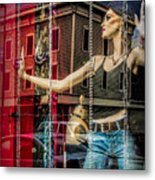 Mannequin In Storefront Window Display With No Escape Metal Print