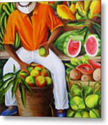Manuel The Caribbean Fruit Vendor  Metal Print by Dominica Alcantara