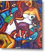 Maori Girl And Three Cats Metal Print