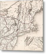 Map: Northeast U.s.a Metal Print
