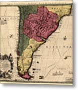 Map Of Argentina 1700 Metal Print