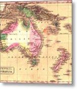 Map Of Australia 1828 Metal Print