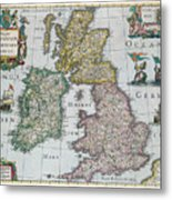 Map Of Britain Metal Print by English school