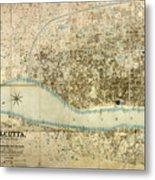 Map Of Calcutta 1857 Metal Print