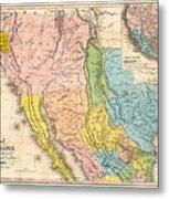 Map Of California New Mexico Texas  1849 Metal Print