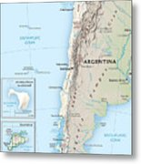 Map Of Chile 2  Metal Print