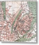 Map Of Copenhagen 1888 Metal Print