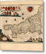 Map Of Cornwall 1646 Metal Print