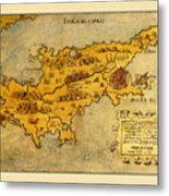 Map Of Cyprus 1562 Metal Print