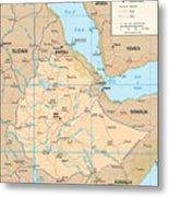 Map Of Ethiopia Metal Print