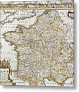 Map Of France, 1627 Metal Print
