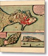 Map Of Gibraltar 1706 Metal Print