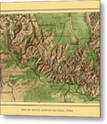 Map Of Grand Canyon 1926 Metal Print