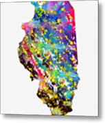 Map Of Illinois-colorful Metal Print