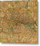 Map Of London England United Kingdom Vintage Street Map Schematic Circa 1899 On Old Worn Parchment  Metal Print