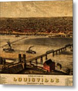 Map Of Louisville Kentucky Vintage Birds Eye View Aerial Schematic On Old Distressed Canvas Metal Print