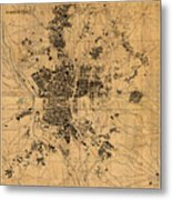 Map Of Madrid Spain Vintage Street Map Schematic Circa 1943 On Old Worn Parchment  Metal Print