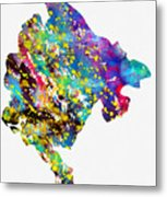 Map Of Montenegro-colorful Metal Print