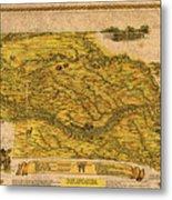 Map Of Nebraska 1954 Omaha Cornhusker State Aerial View Illustration Cartography On Worn Canvas Metal Print