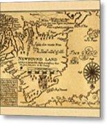 Map Of Newfoundland 1625 Metal Print