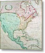 Map Of North America Metal Print by English School