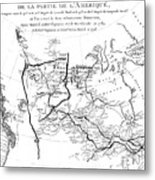 Map Of North America, Plotting The Expeditions Of Sir Alexander Mackenzie In 1789 And 1798 To The Ar Metal Print
