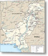 Map Of Pakistan Metal Print
