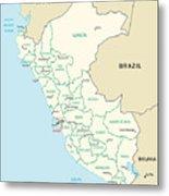 Map Of Peru Metal Print