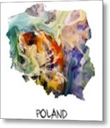 Map Of Poland Original Art Metal Print