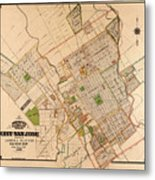 Map Of San Jose 1886 Metal Print