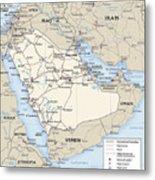 Map Of Saudi Arabia 2 Metal Print