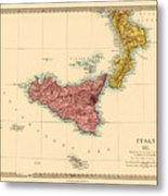 Map Of Sicily 1875 Metal Print