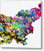 Map Of Slovenia-colorful Metal Print